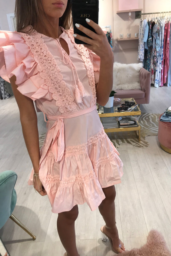 PRICINIA CROCHET TRIM MINI DRESS PINK