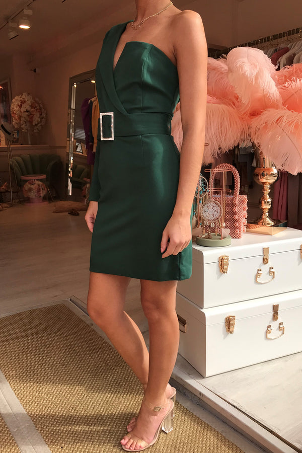 ONE SLEEVE TUX MINI DRESS EMERALD GREEN