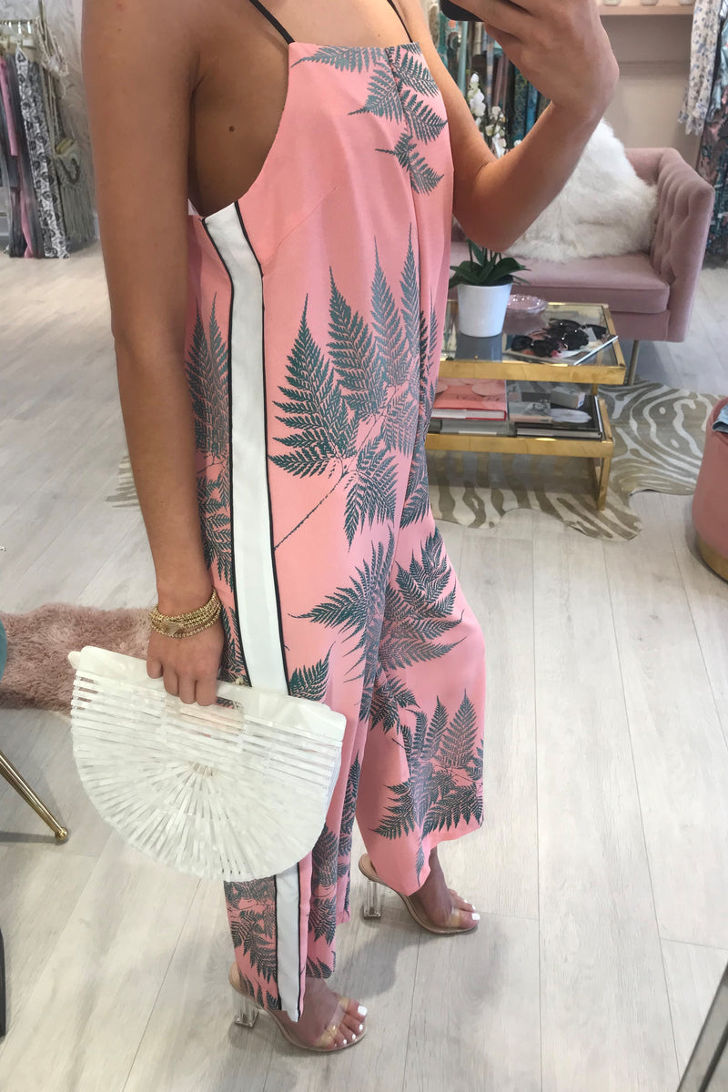 FERN PINK JUMPSUIT WITH WHITE STRIPE