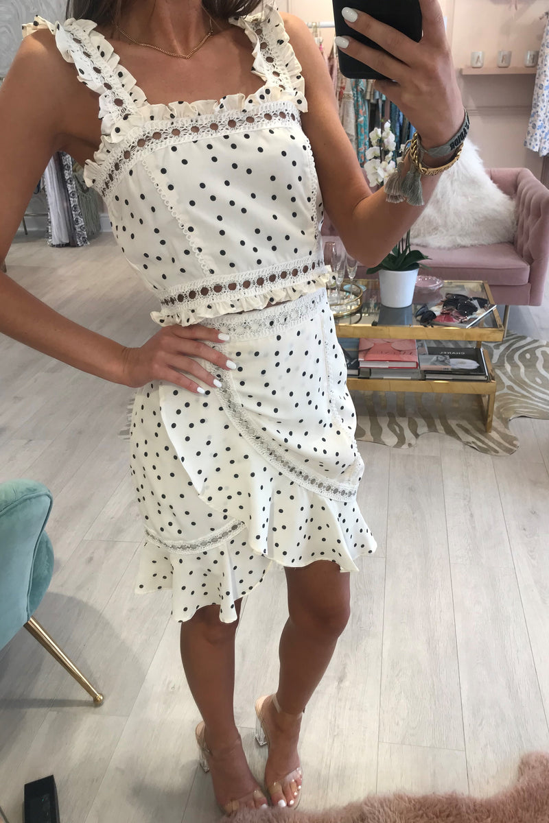 LULA CREAM BLACK SPOT FRILL SKIRT