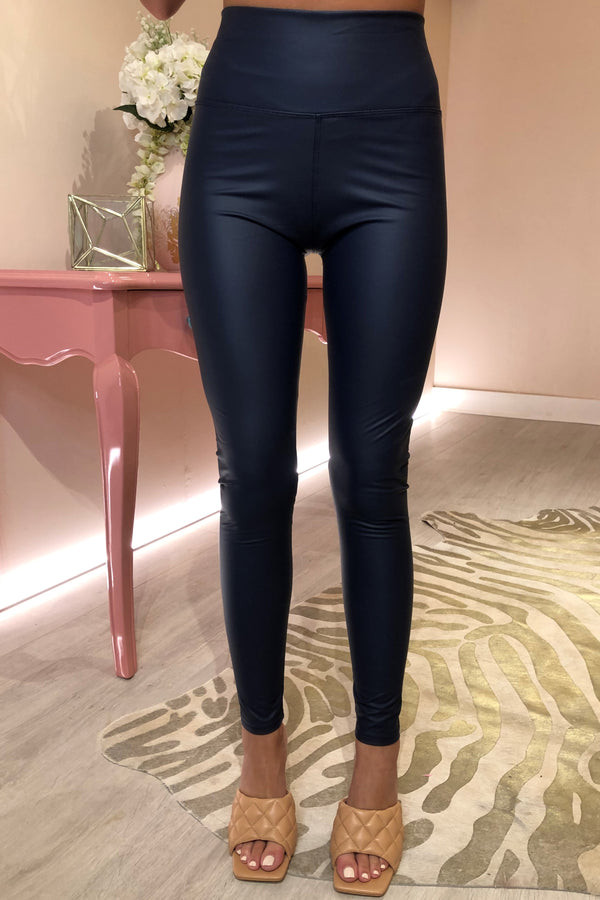NAVY BLUE FAUX LEATHER LEGGING WITH STRETCH