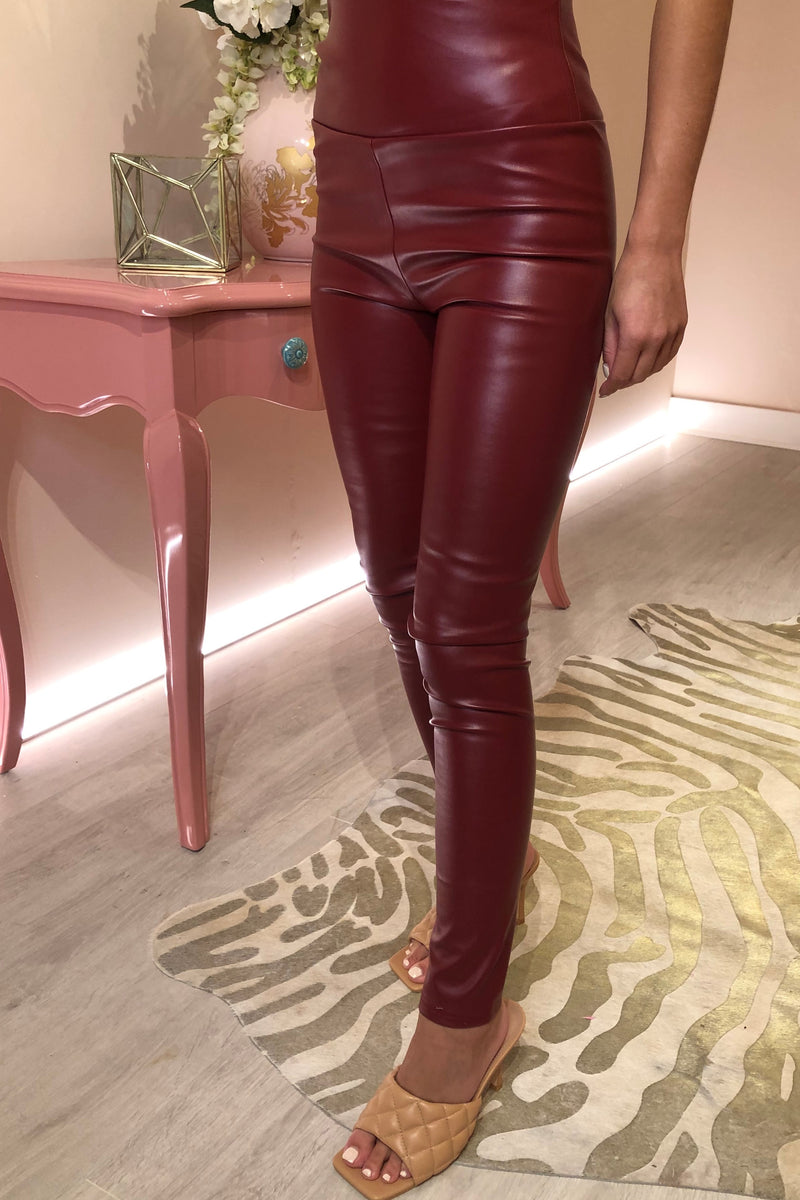 DARK RED FAUX LEATHER LEGGING