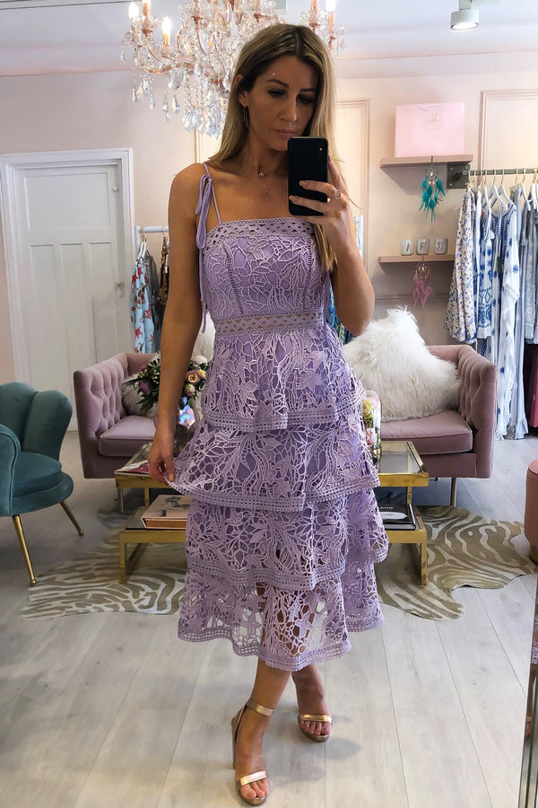 TRUE DECADENCE TIERED LACE FRILL DRESS PURPLE