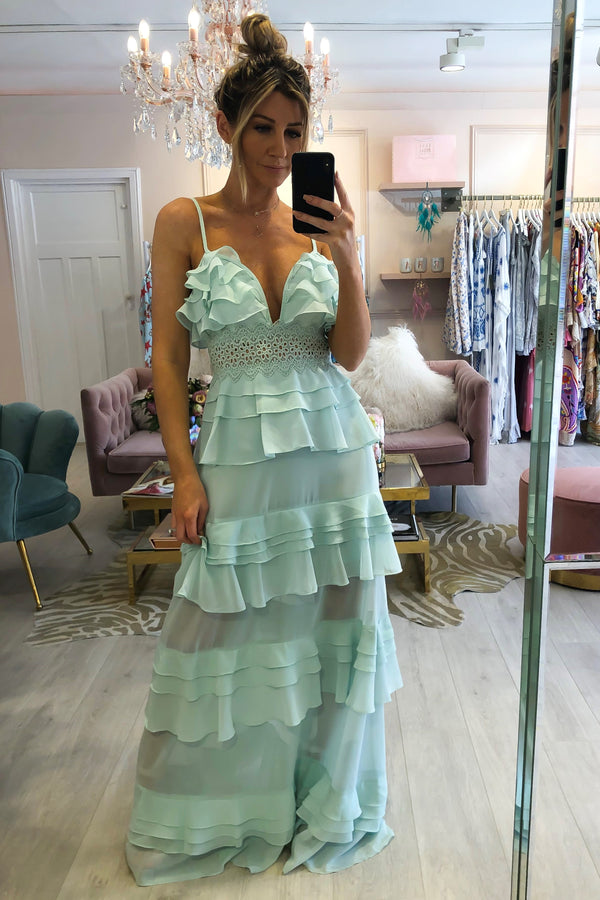 MADDISON MINT TIERED FRILL DRESS