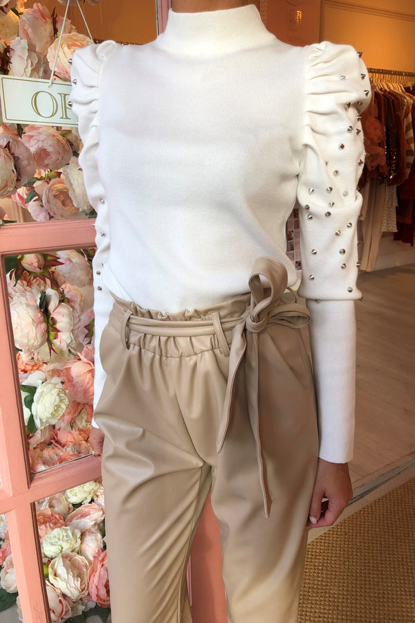 BEIGE FAUX LEATHER PAPER BAG WAIST TROUSER