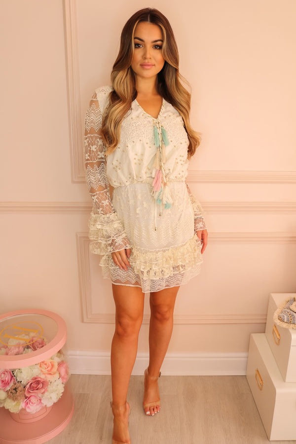 image 2 of ADELIA CREAM CROCHET DRESS WITH TASSEL