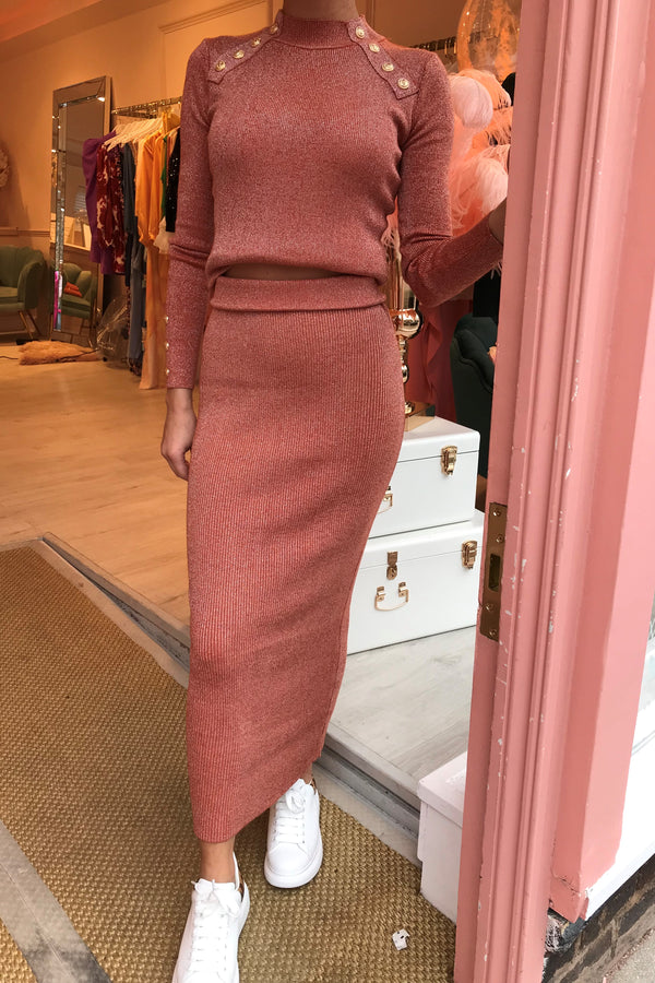JASMINE RUST LUREX KNIT SKIRT