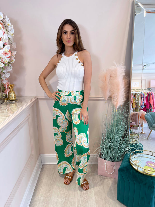 DESTINY GREEN PRINTED TROUSER