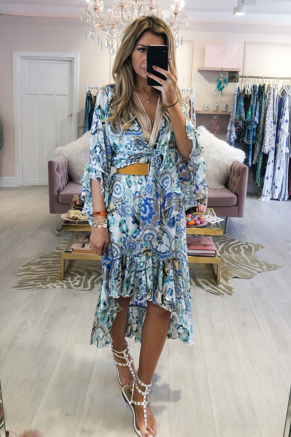 AMIKA BLUE FLOWER PRINTED DRESS WITH LACE