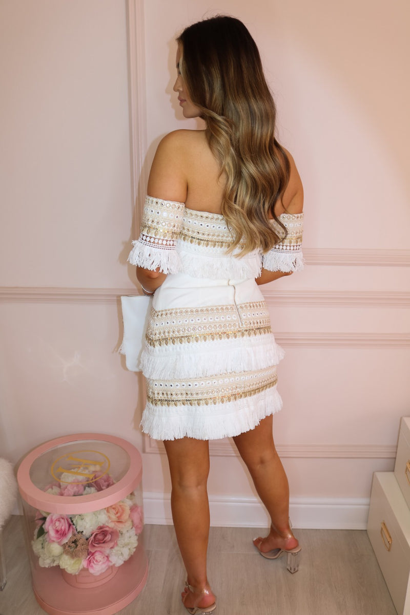 image 2 of MAKEDA WHITE EMBELLISHED DRESS