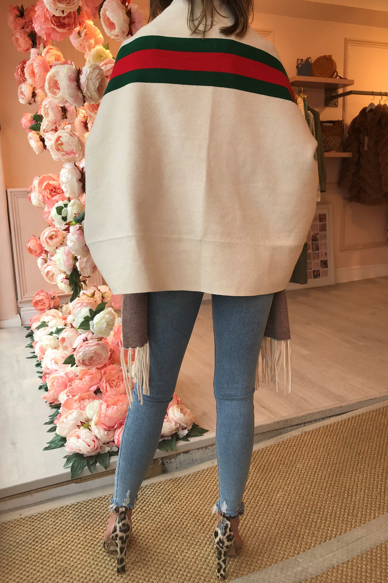 CREAM CAPE WITH GREEN/RED STRIPE