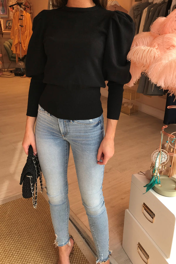 FLORENTINE BLACK KNITTED TOP