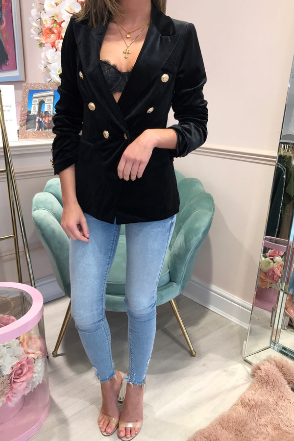 BLACK VELVET BLAZER WITH GOLD BUTTONS