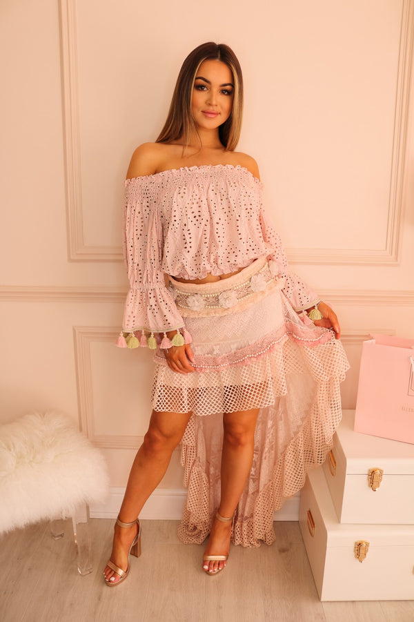 image 1 of BLUSH PINK LACE SKIRT WITH PEARLS