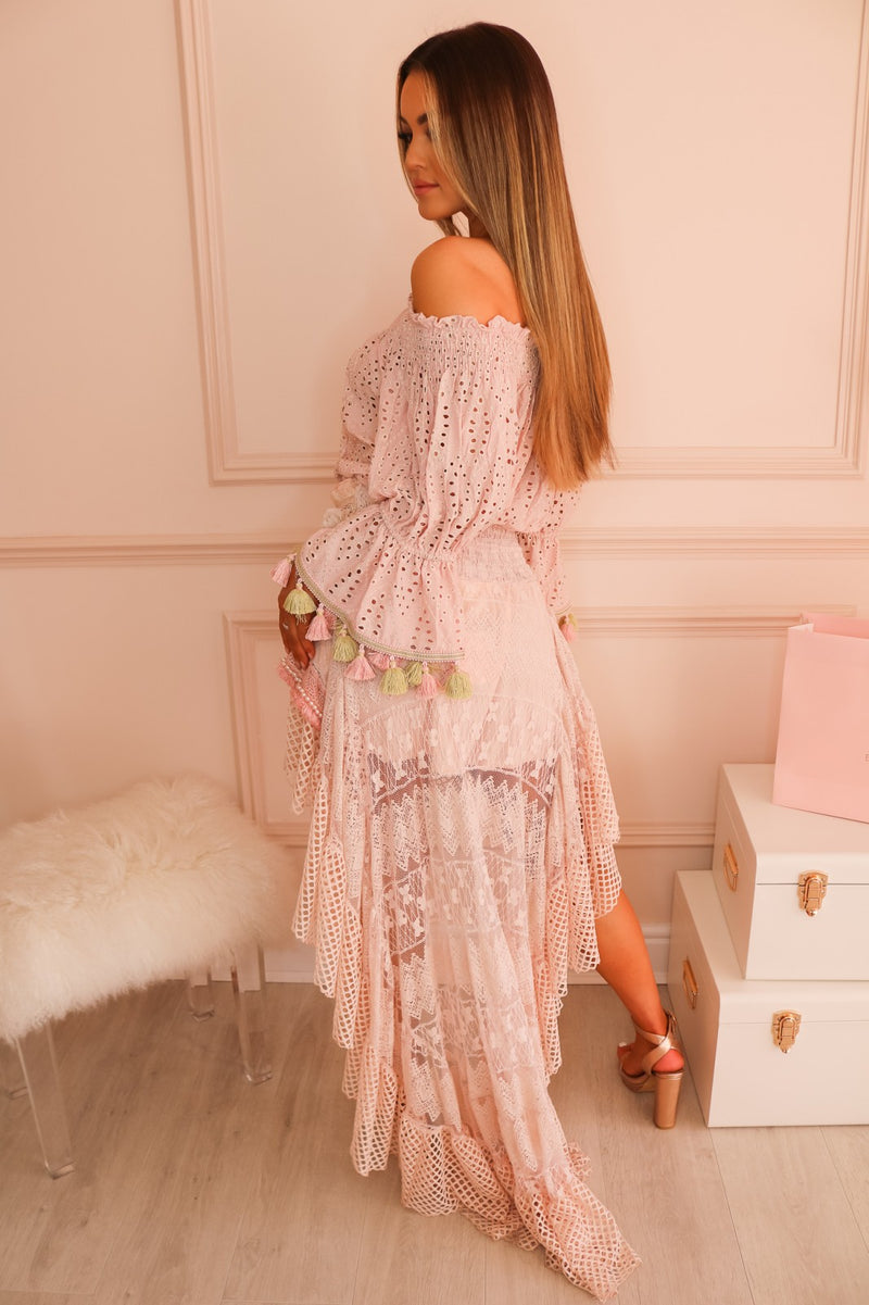 image 5 of BLUSH PINK LACE SKIRT WITH PEARLS