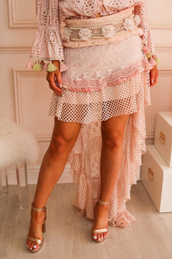 image 2 of BLUSH PINK LACE SKIRT WITH PEARLS