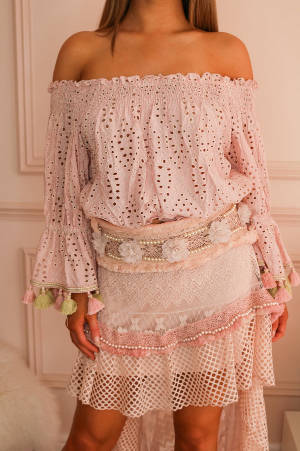 image 2 of MJ PINK CROCHET TASSEL BARDOT TOP