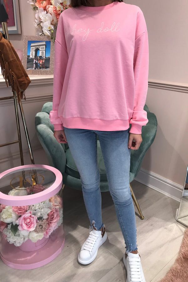 MY NELLY CANDY PINK HEY DOLL SWEATSHIRT