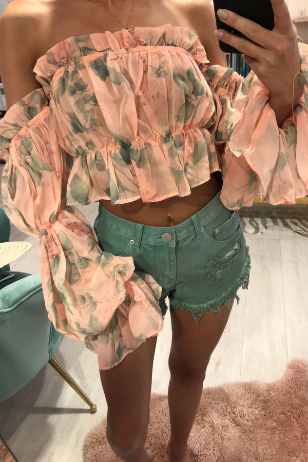 LOTTI PINK FLORAL CROPPED BLOUSE