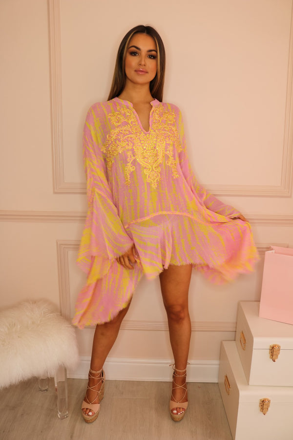 image 1 of MJ NIKKI KAFTAN PINK/YELLOW