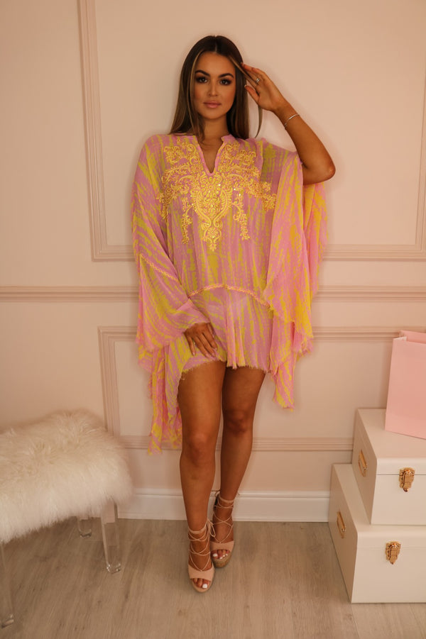 image 2 of MJ NIKKI KAFTAN PINK/YELLOW