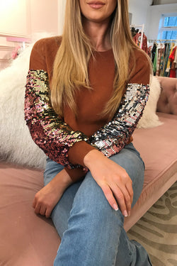 TALLY RUST SEQUIN SLEEVE KNIT JUMPER
