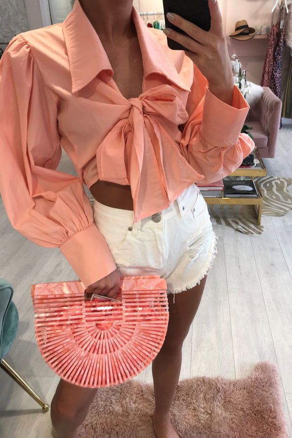 BELLA CROPPED TIE FRONT BLOUSE CORAL