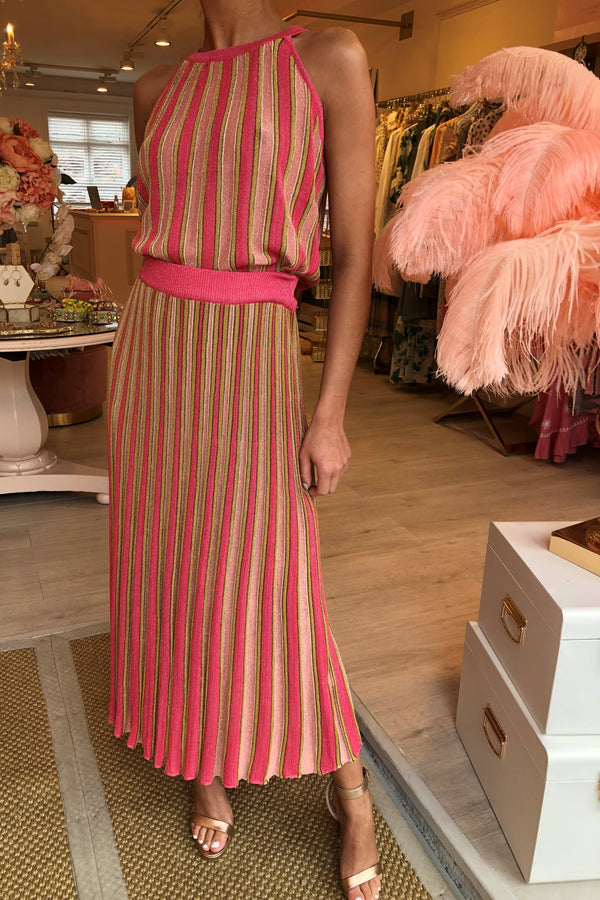 COLOURFULLY PINK/GOLD KNITTED SKIRT SET