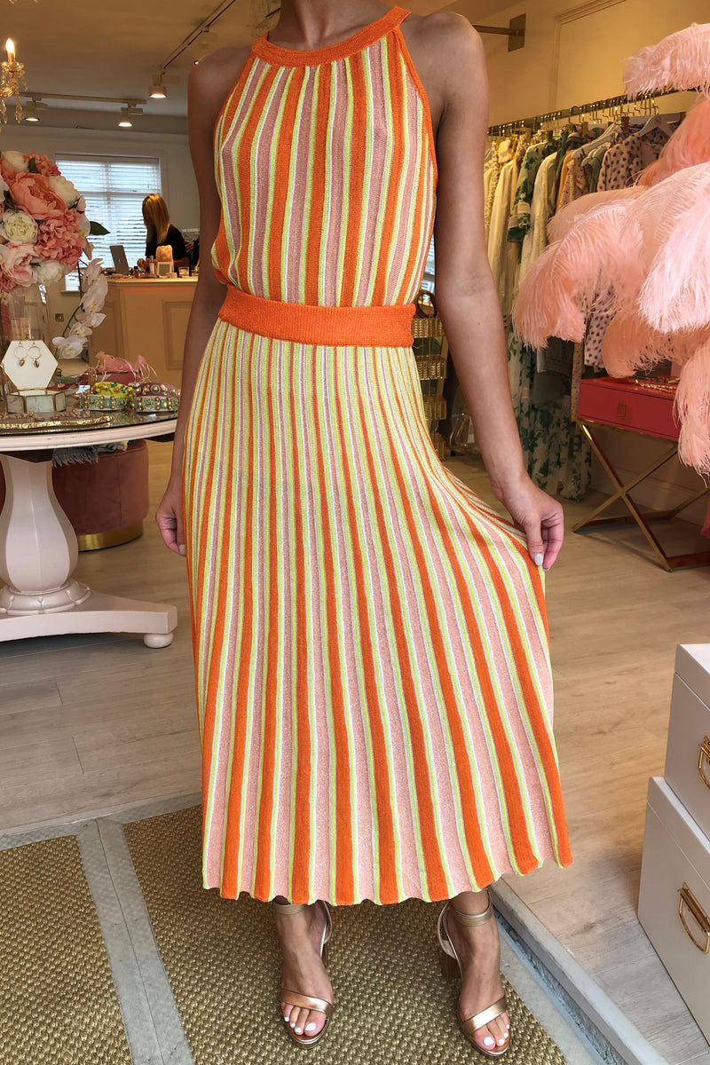 COLOURFULLY ORANGE/YELLOW KNITTED SKIRT SET