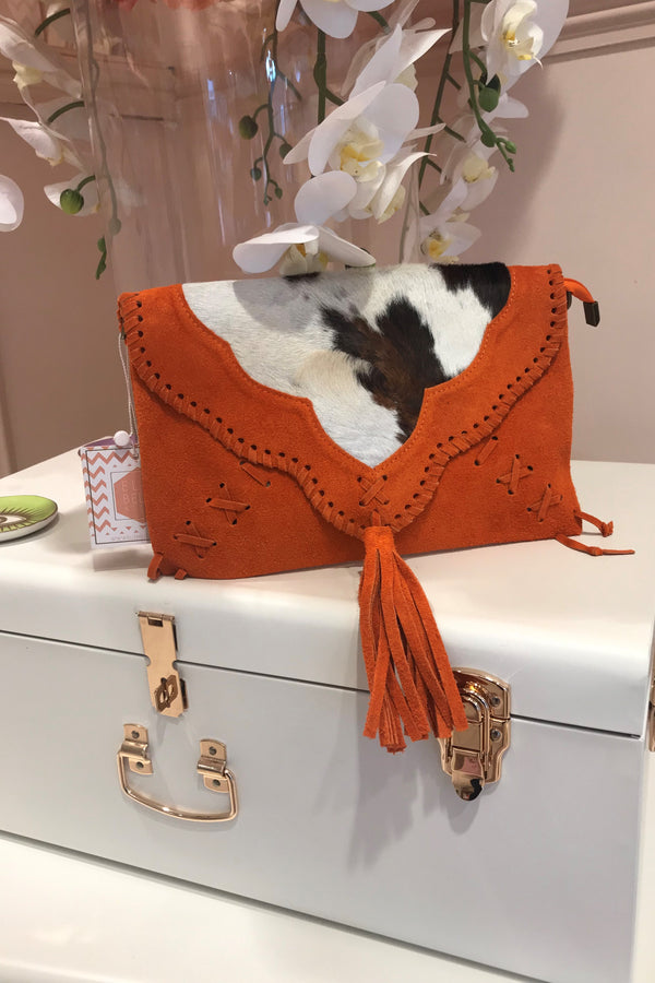 ORANGE SUEDE ZEBRA CLUTCH BAG