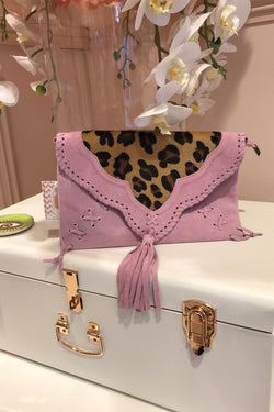 MAUVE SUEDE LEOPARD CLUTCH BAG