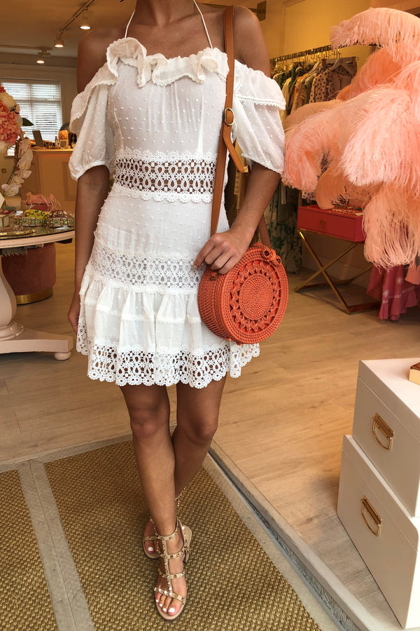 LILIA WHITE MINI CROCHET RUFFLE DRESS