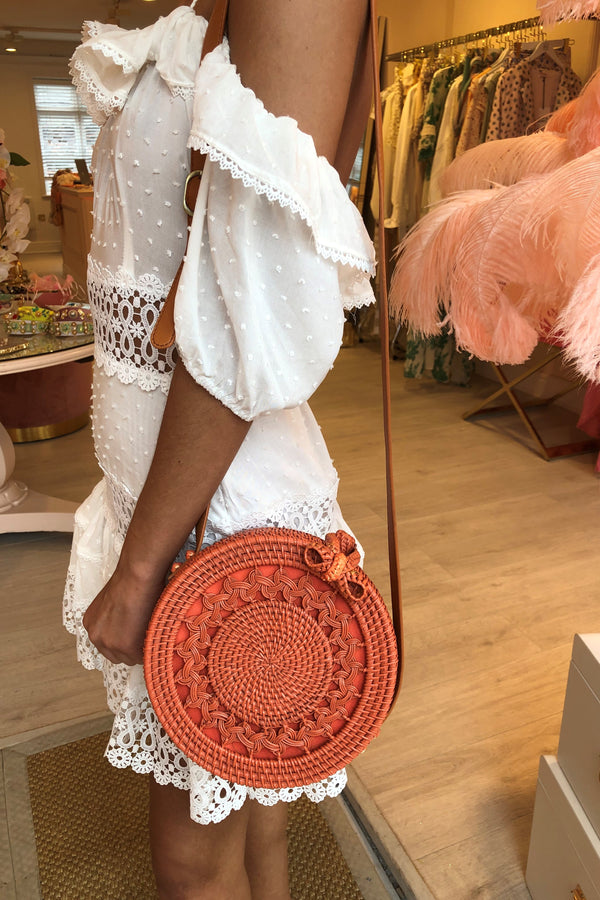 LANA CORAL WOVEN CROSS BODY BAG