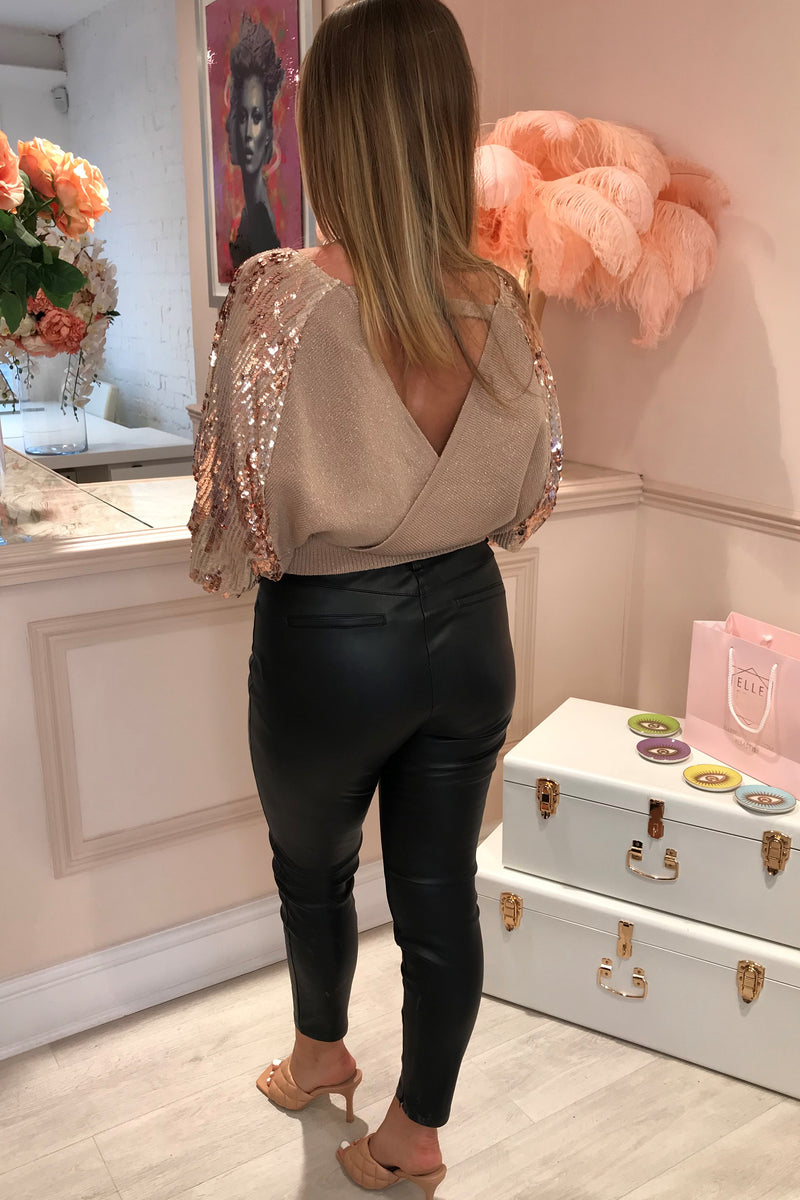 ROSE GOLD/BEIGE CROSS OVER JUMPER WITH SEQUIN SLEEVE