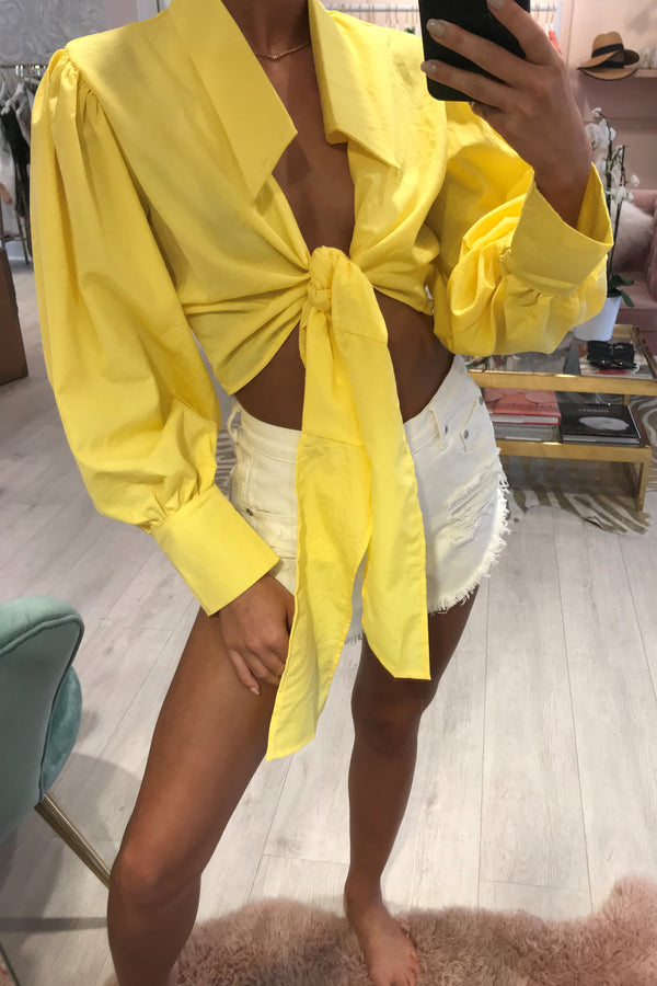 BELLA CROPPED TIE FRONT BLOUSE YELLOW