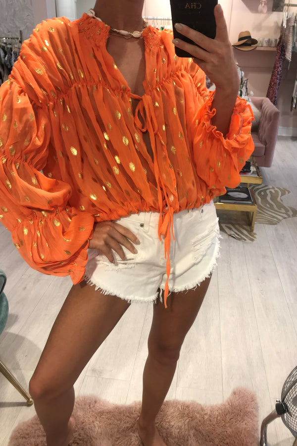 CANDY BLOUSE ORANGE WITH GOLD METALLIC