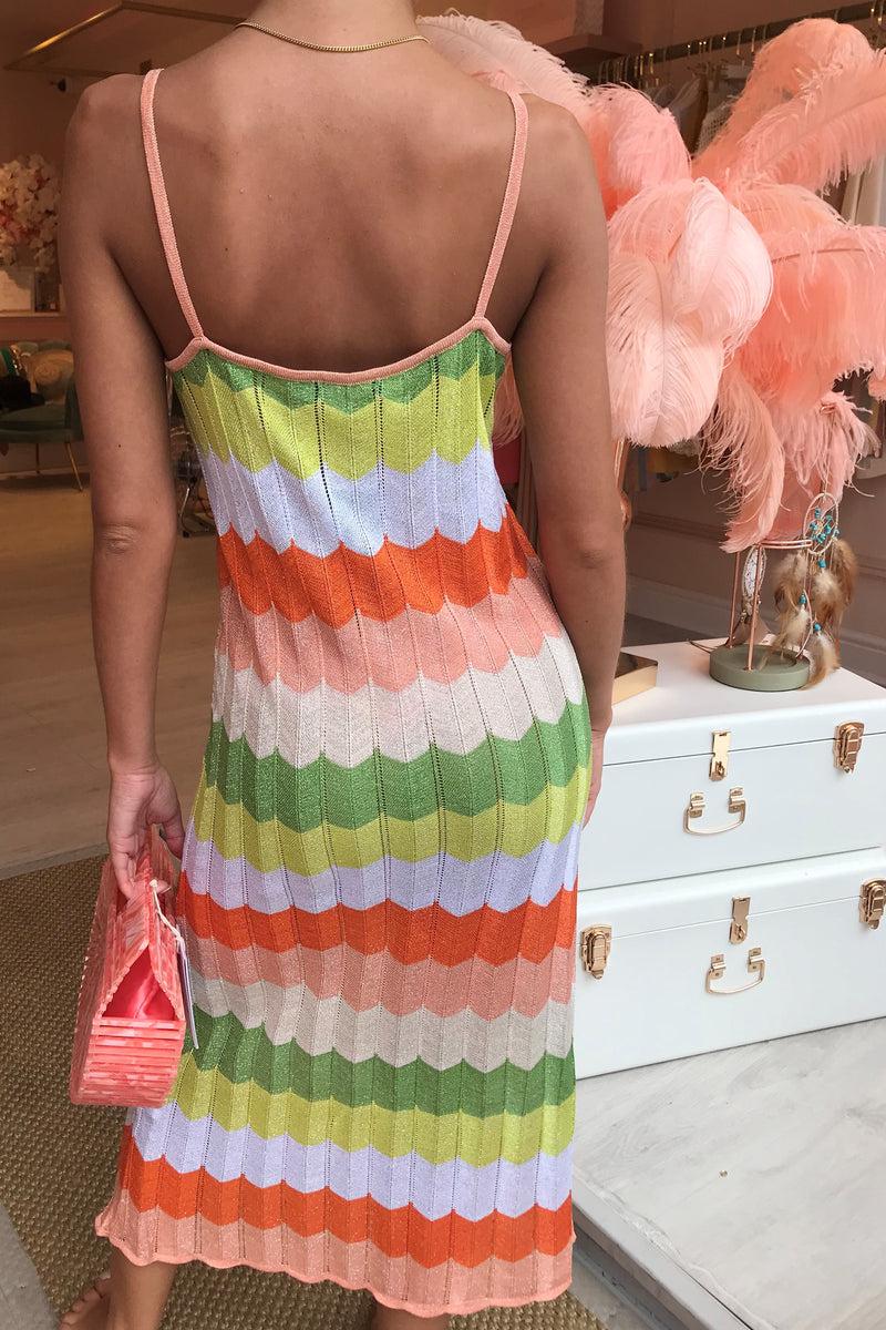 BORA BORA CHEVRON DRESS CORAL/GREEN