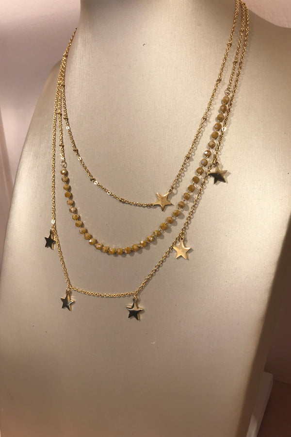GOLD/BEADED STAR LAYERED NECKLACE