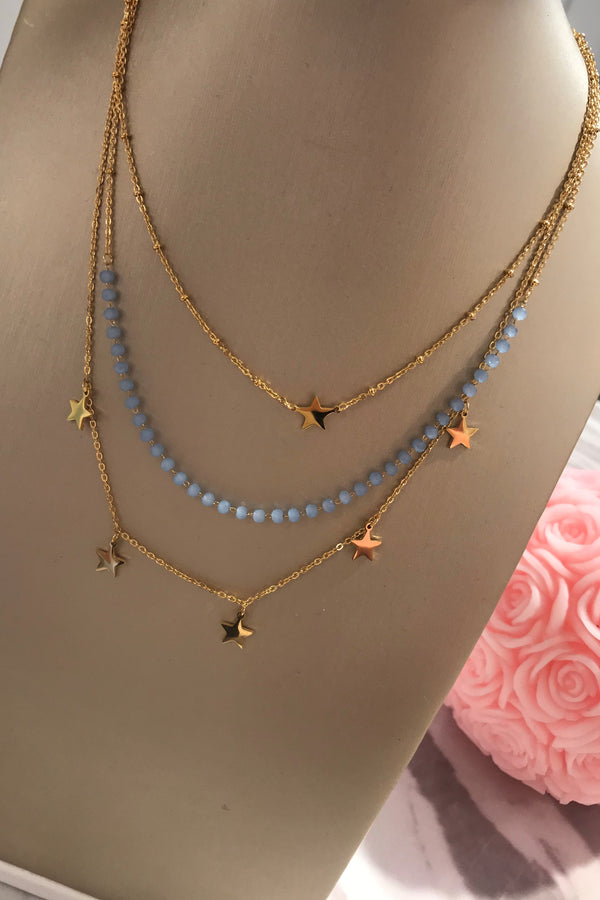 GOLD/BLUE STAR LAYERED NECKLACE