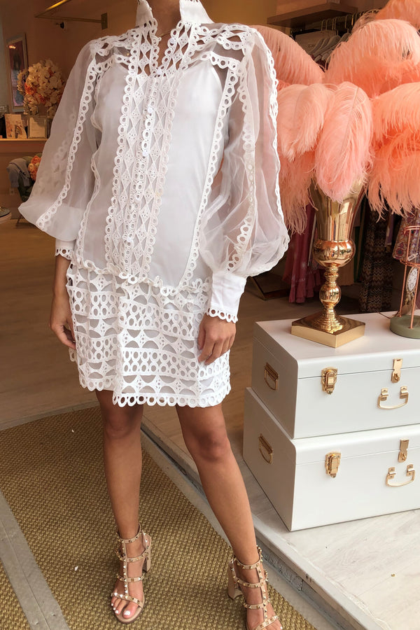 MIA WHITE SHEER CROCHET DRESS