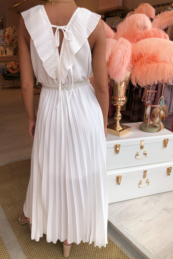 LOLA PLEATED FRONT WHITE MAXI
