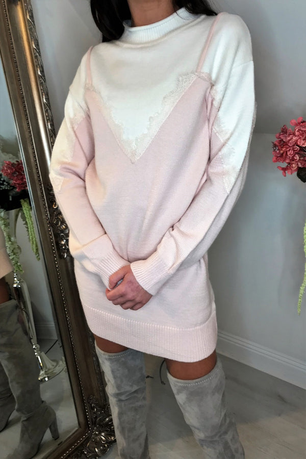 image 1 of MIMI KNITTED JUMPER DRESS PINK
