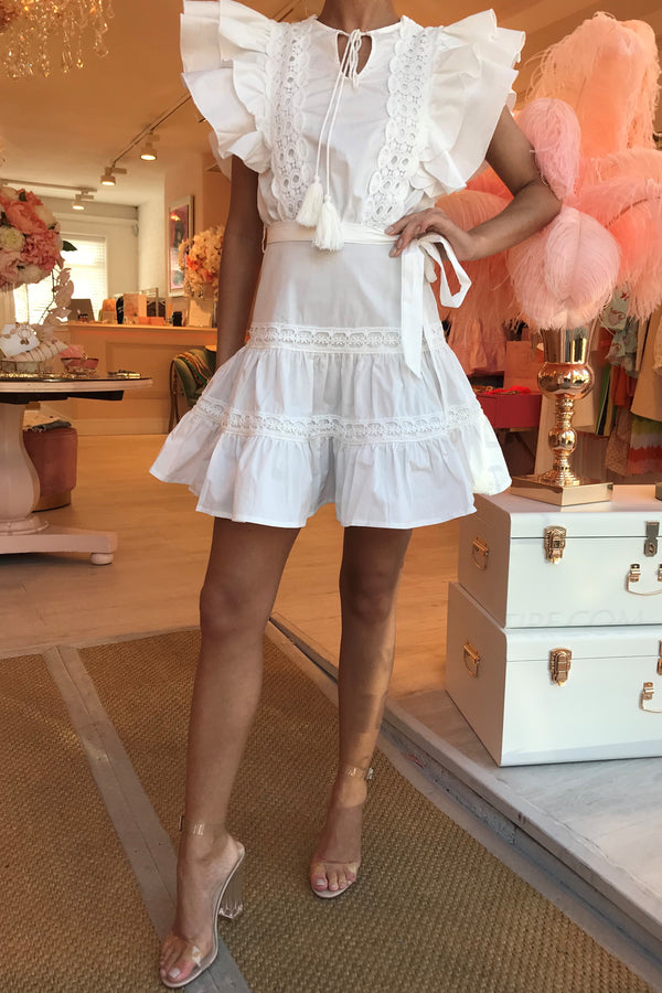 PRICINIA CROCHET TRIM MINI DRESS WHITE