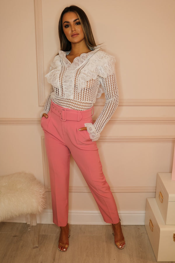 image 2 of FLAMINGO PINK TAILORED TROUSER WITH BELT