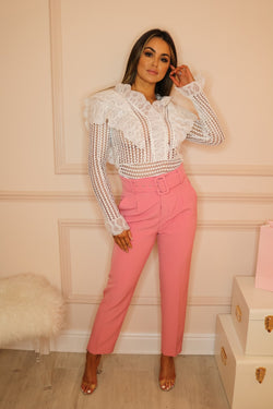 image 1 of FLAMINGO PINK TAILORED TROUSER WITH BELT