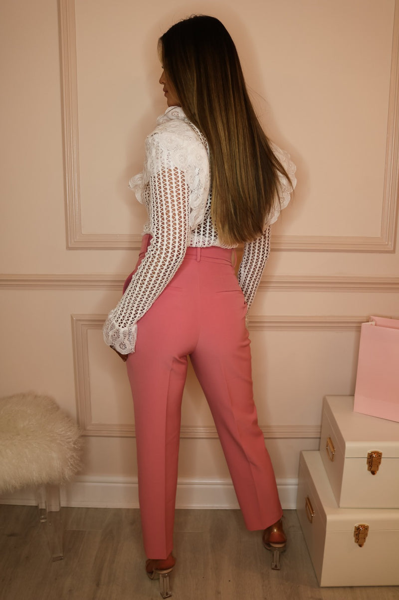 image 3 of FLAMINGO PINK TAILORED TROUSER WITH BELT