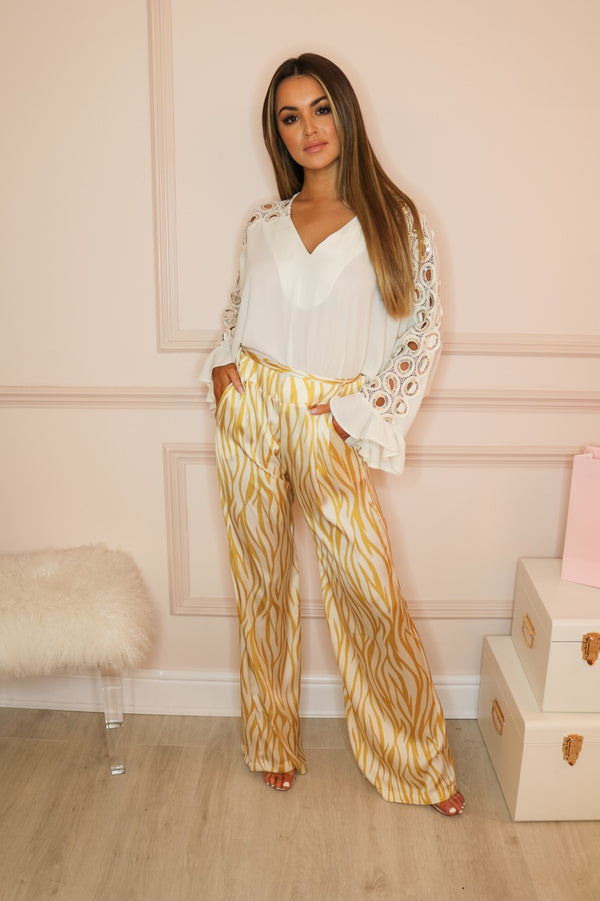 image 1 of GOLD SILKY ZEBRA TROUSERS