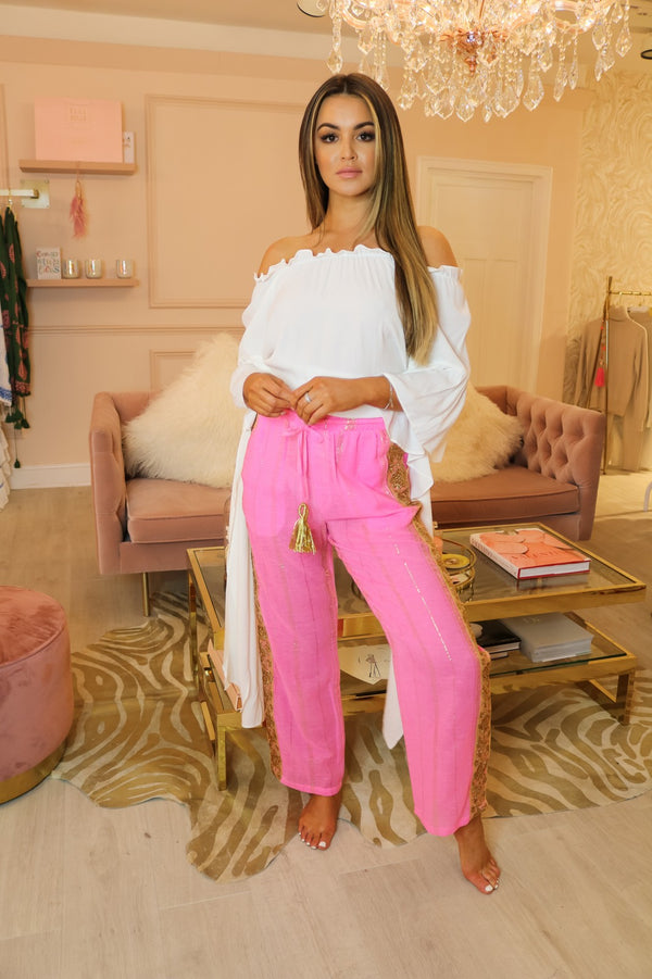 image 1 of MJ GOLDEN NEON PINK TROUSER