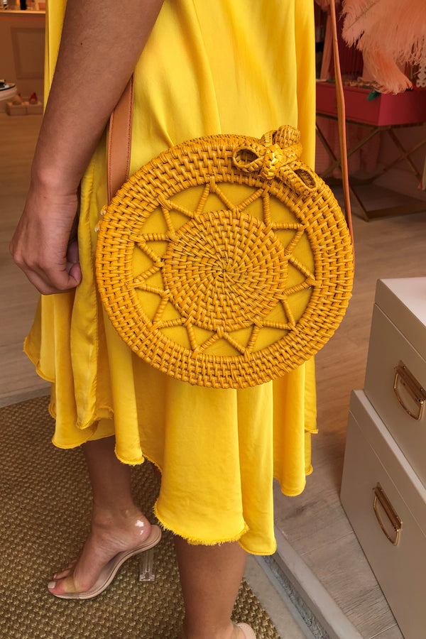 LANA MUSTARD WOVEN CROSS BODY BAG