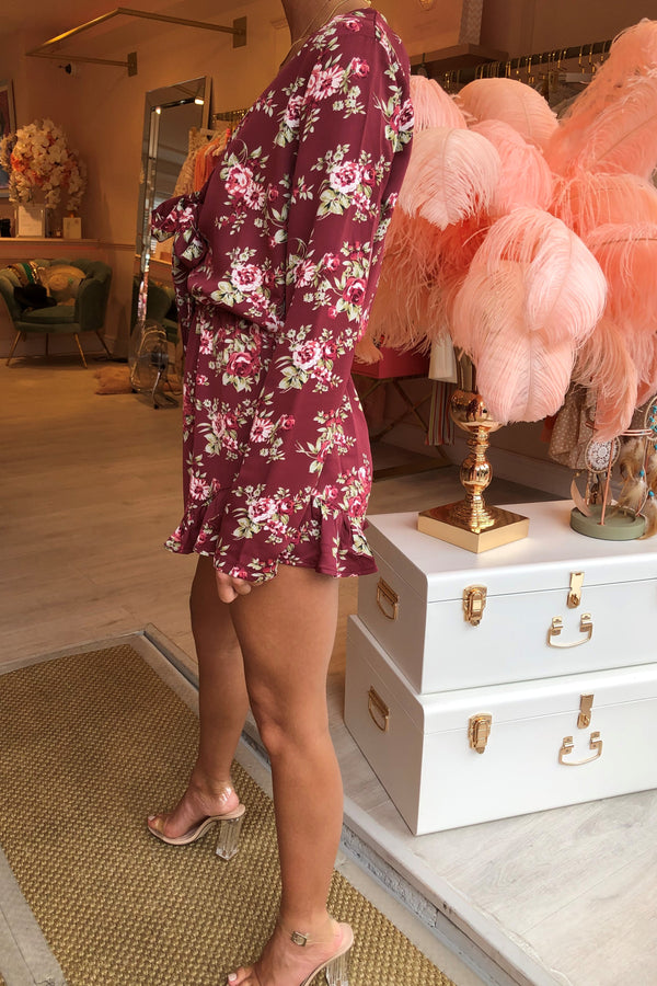 BETTY BURGANDY FLORAL PRINT PLAYSUIT